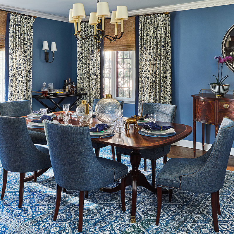 Classic Blue Makeover Dining Room - Katheryn Cook Interiors